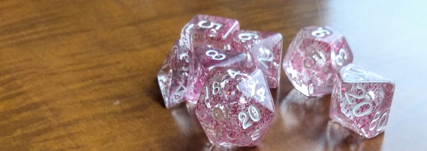 Sparkly dungeons and dragons dice