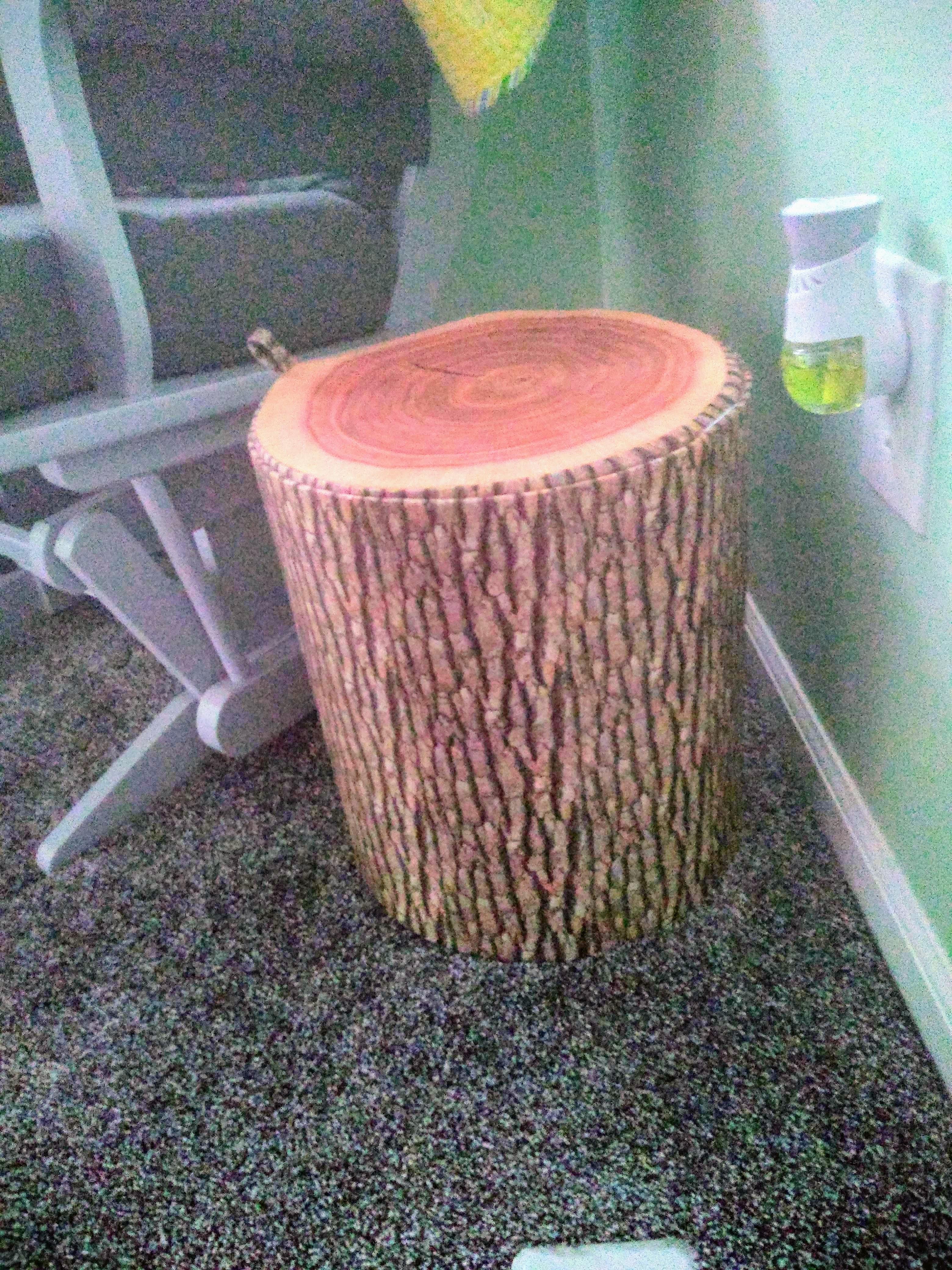 Tree stump toy chest