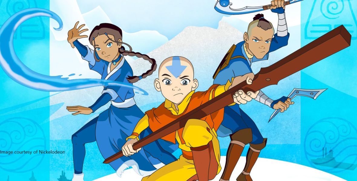 Aang, Katara, and Sokka from Avatar: The Last Airbender standing in fight poses