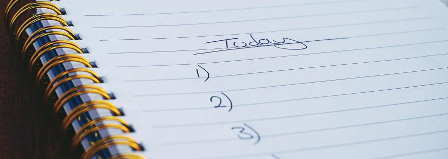 Spiral notebook with blank checklist